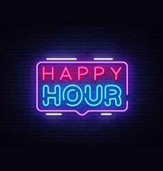 Happy hour neon sign design template happy vector