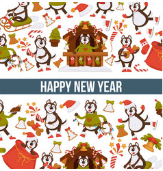 happy new year 2018 cartoon dog celebrating vector image