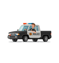 happy sheriff rides in car police pickup truck vector image