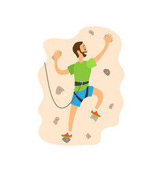 Hiking or overhanging on wall climbing vector