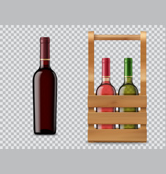 isolated wine bottle and wooden case or box vector image