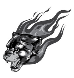 jaguar head with flame tattoo monochromatic vector image