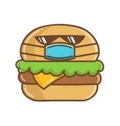 Kawaii hamburger wearing protective face mask vector