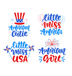 little miss america american girl lettering set vector image