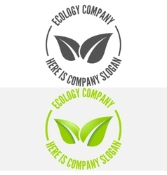 Logo badge label logotype elements with leafs vector image
