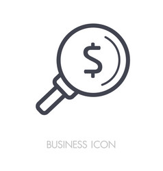 looking for money dollar symbol magnifying glass vector image