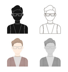 Man with glasses icon cartoon single avatar vector