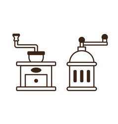manual coffee grinder line art monochrome icons vector image