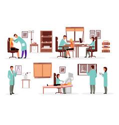 Medicine and healthcare workers flat set doctors vector