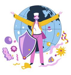 Medicine worker nurse or doctor caring for planet vector