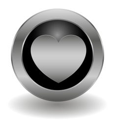 Metallic heart button vector image