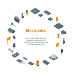 microchip computer electronic components banner vector image