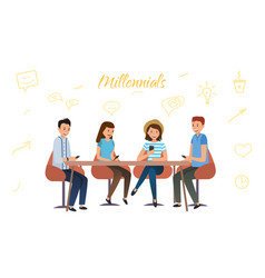 millennium generation communicate with each other vector image