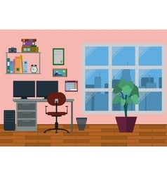 Modern Home Office Interior vector