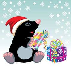 mole with christmas gifts vector image