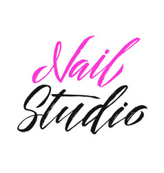 Nail studio logo beauty lettering manicure vector