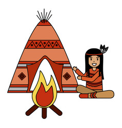 native american character vector image