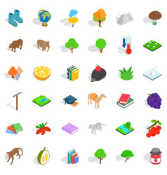 Nature icons set isometric style vector