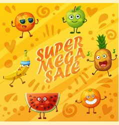orange background with fruit characters food emoji vector image