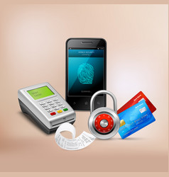 Payment protection realistic composition vector
