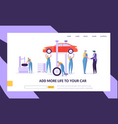 people character in uniform repair car at service vector image