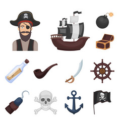 pirate sea robber cartoon icons in set collection vector image