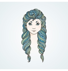 Portrait of a cute long-haired girl with braids vector image
