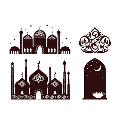 ramadan mosques collection vector image
