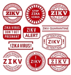 Red and white Zika Virus stamps vector image