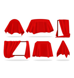 Red silk cover realistic covered objects with vector