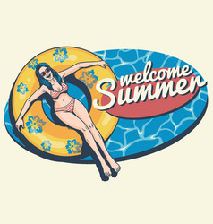 retro summer girl in the pool vector image