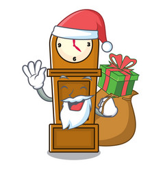 Santa with gift grandfather clock mascot cartoon vector