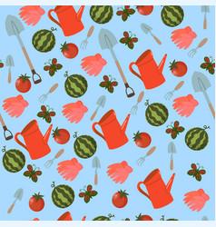 seamless pattern garden tools vegetables vector image