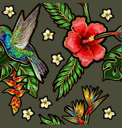 seamless pattern with humming bird hibiscus vector image
