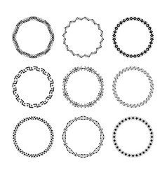 set of 9 ethnic traditional tribal round frames vector image