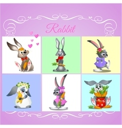 Set of six rabbits with different characters vector image
