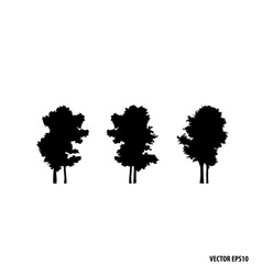 Set of tree silhouettes vector