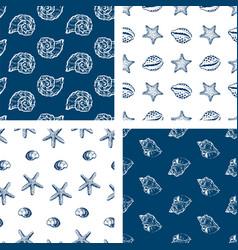 set seamless patterns sketches various sea vector image
