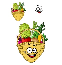 Shopping basket with healthy groceries vector