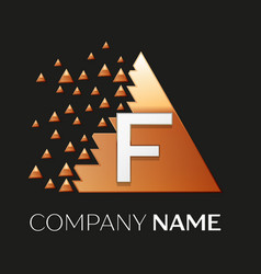 silver letter f logo symbol in the triangle shape vector image