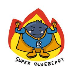 super blueberry hero on fire cartoon logo vector image