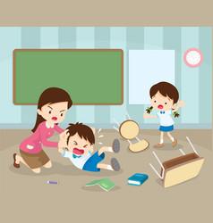 Teacher handle angry boy in class vector