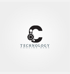 Technology icon template with c letter creative vector