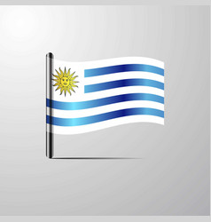 Uruguay waving shiny flag design vector
