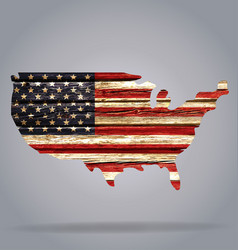 Usa flag map on old rustic timber cutout vector