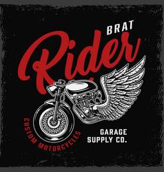 Vintage brat style motorcycle emblem vector