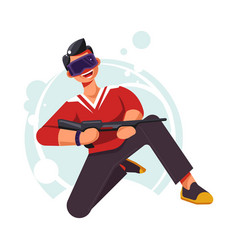 virtual reality glasses and fake gun man on one vector image