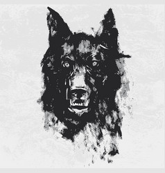 Watercolor drawing black angry looking wolf vector