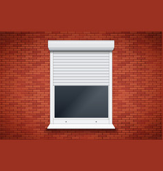 white roller shutters on window vector image