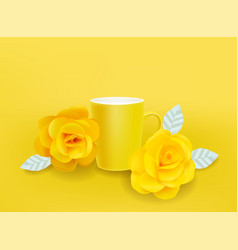 Yellow mug and flowers realistic summer vector